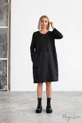 Straight cut linen-cotton dress SION