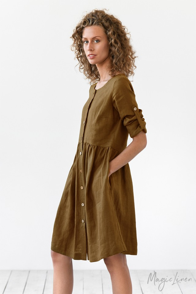 Long sleeve linen dress Tuscany
