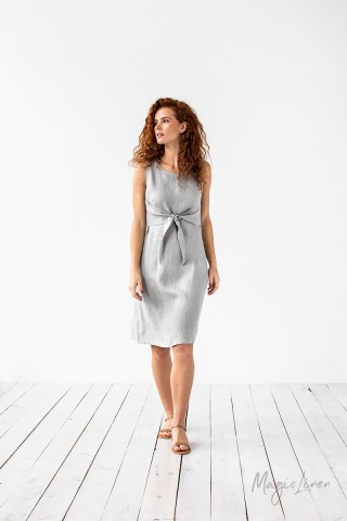 Tie-front linen dress EDEN
