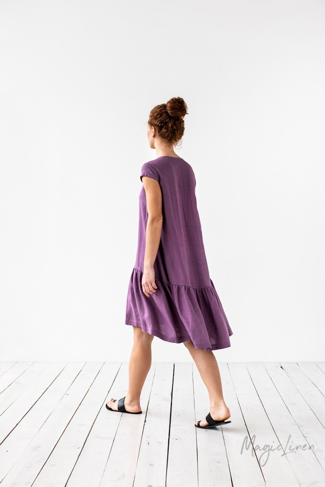 Ruffle hem linen dress Tenby