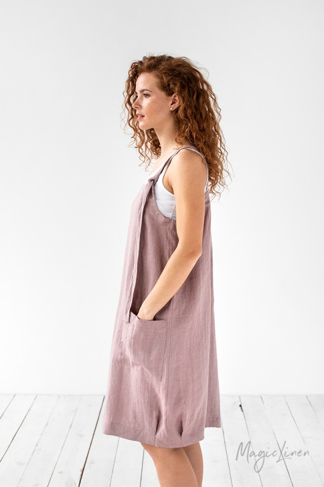 Linen pinafore dress Visby