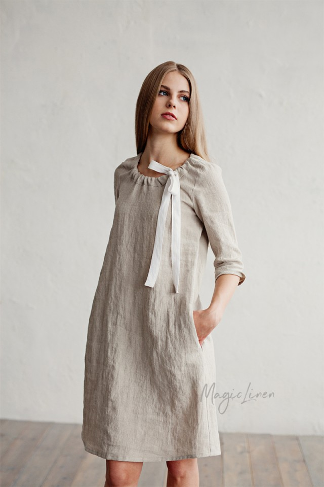 Linen dress with gathered neckline Cambria