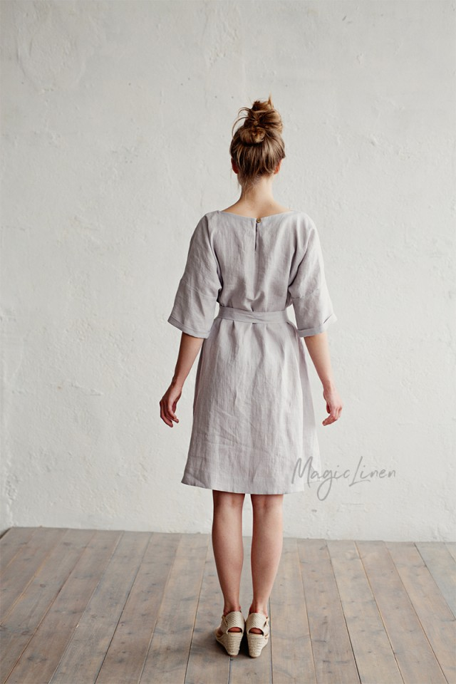 Linen dress with belt Corfu