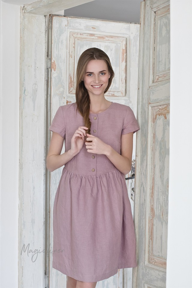 Linen dress with buttons Faro