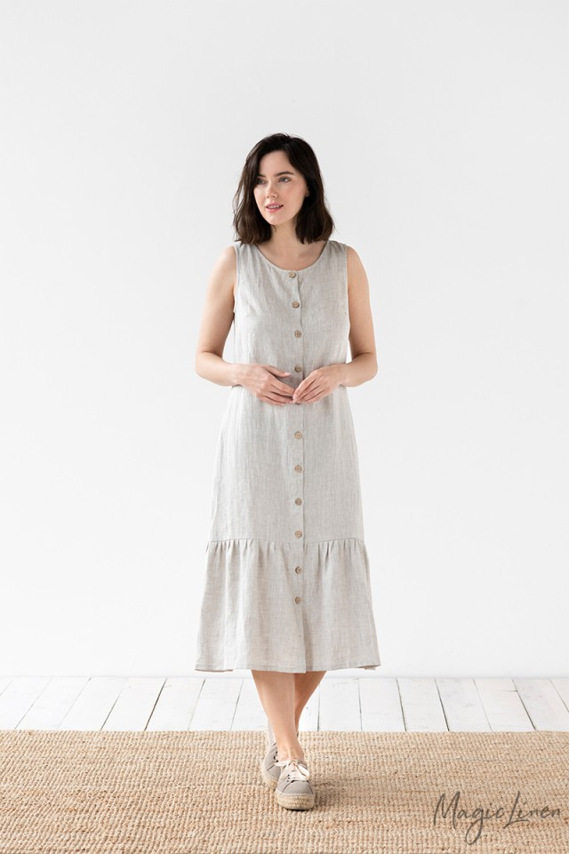 Ruffle Hem Maxi Linen Dress Dorset