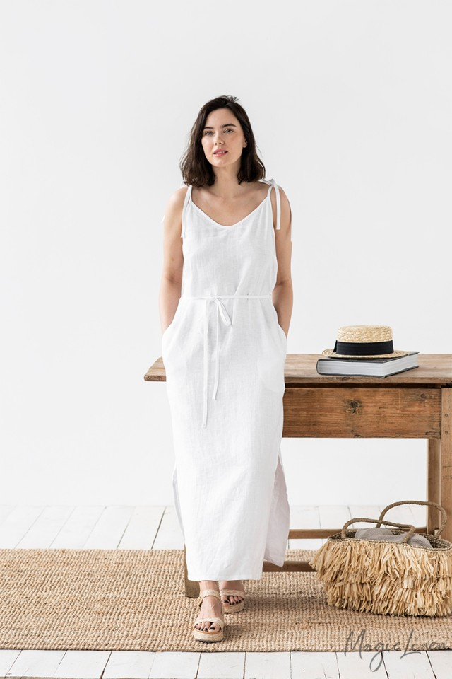 Tie Strap Maxi Linen Dress Manali