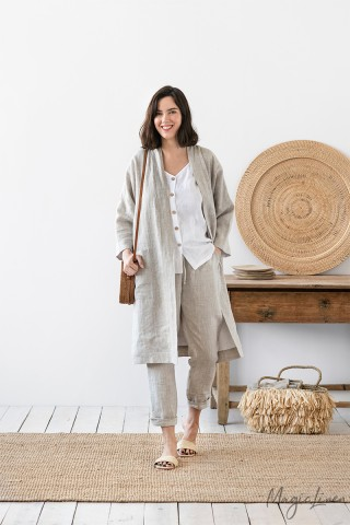 Double-sided linen cardigan Bergen