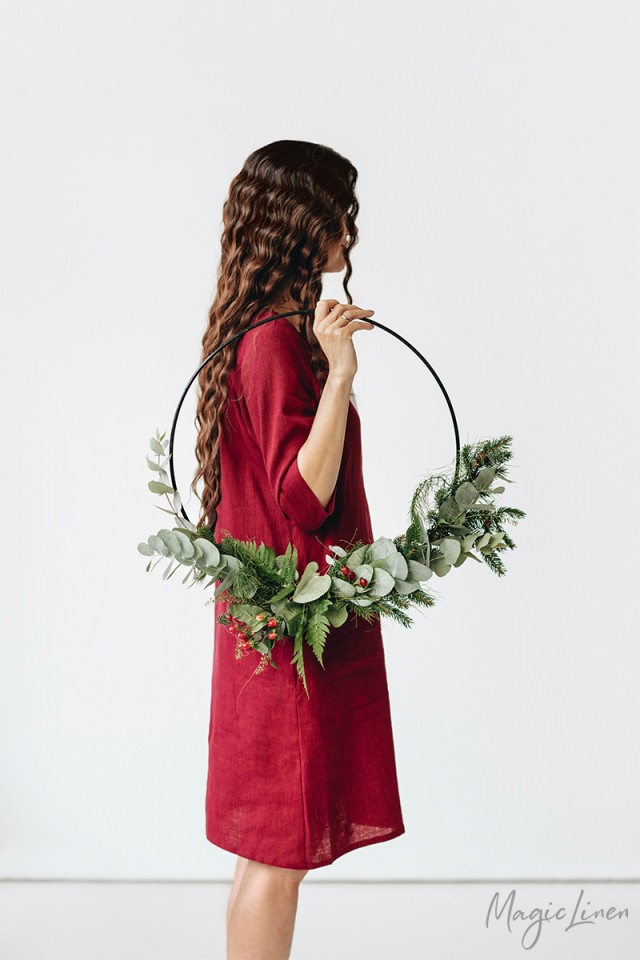 LIMITED EDITION Red Linen Dress With Gathered Neckline Cambria