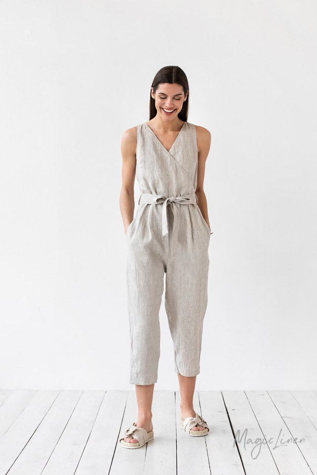 Crossover linen jumpsuit Broome