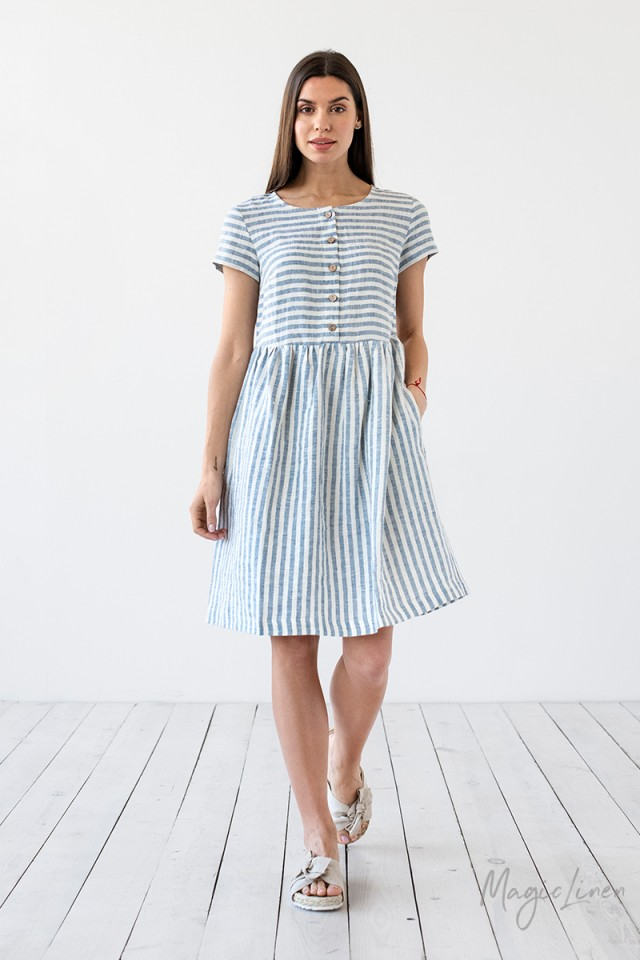 b0fa7e7d2 Striped Linen Dress Florence | MagicLinen