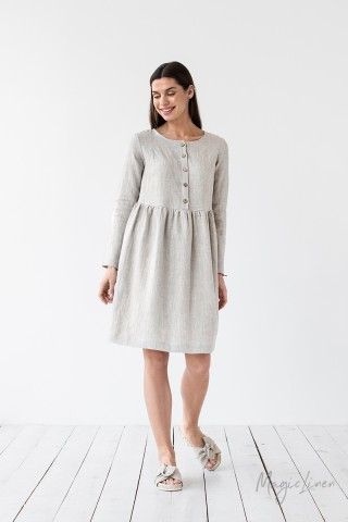 Long sleeve linen dress Lille