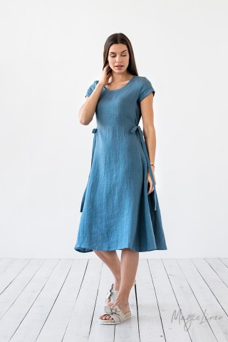 Linen dress with ties MORELLA