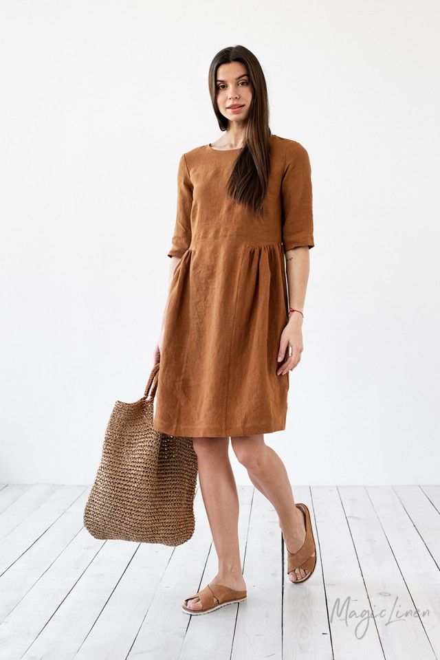 Pleated linen dress Siracusa