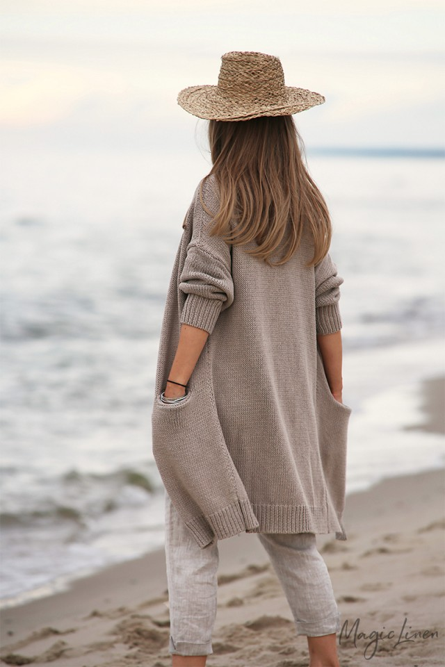 Knitted loose-fit cotton cardigan