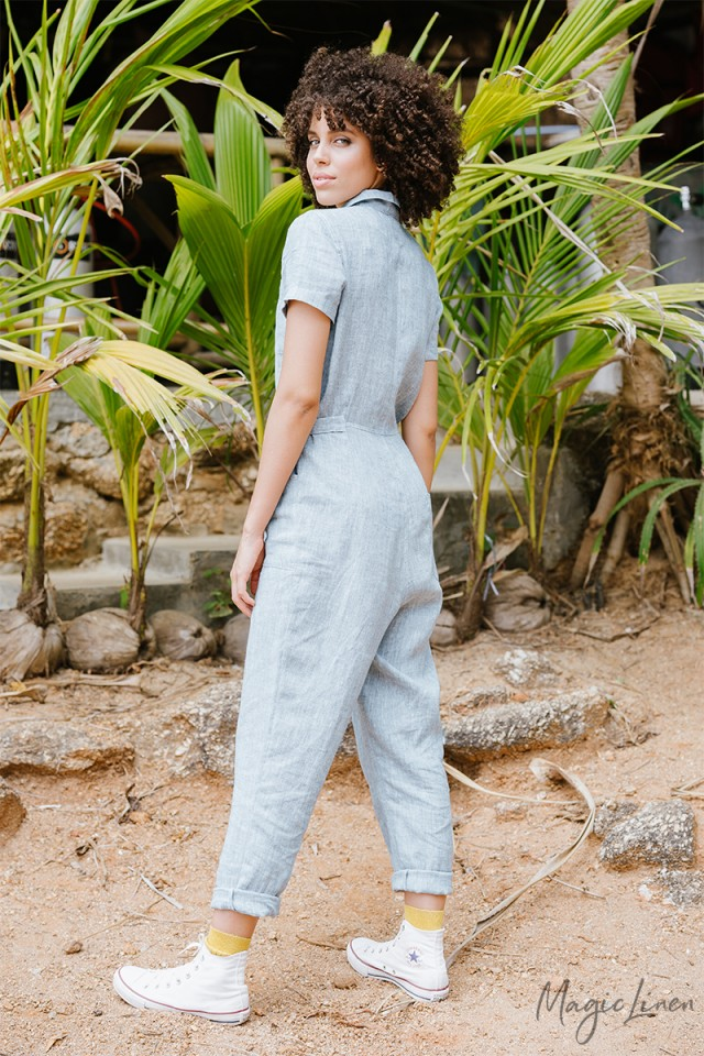Short Sleeve Linen Jumpsuit Krabi