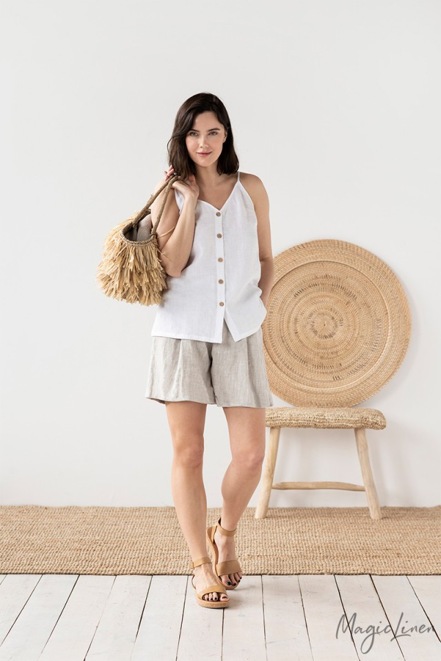 High Waisted Linen Shorts Evora