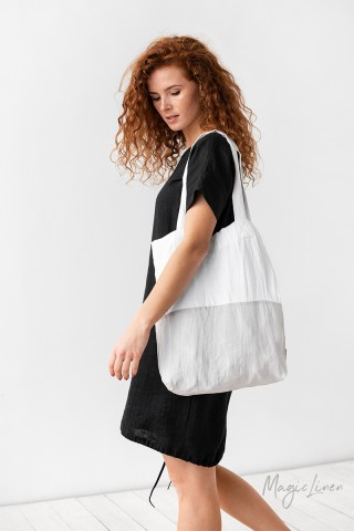 Color-block linen tote bag
