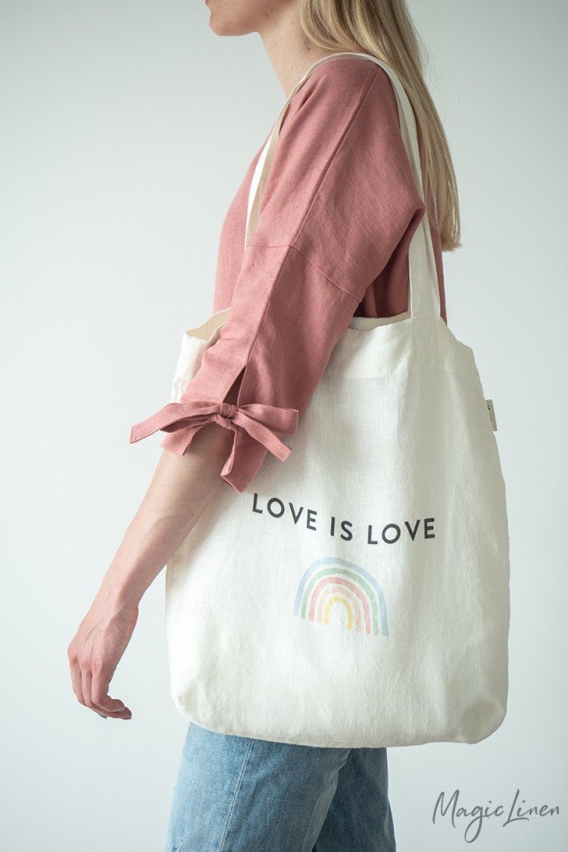 Love is Love linen tote bag