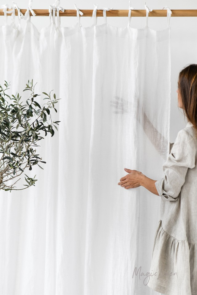Sheer tie top linen curtain panel