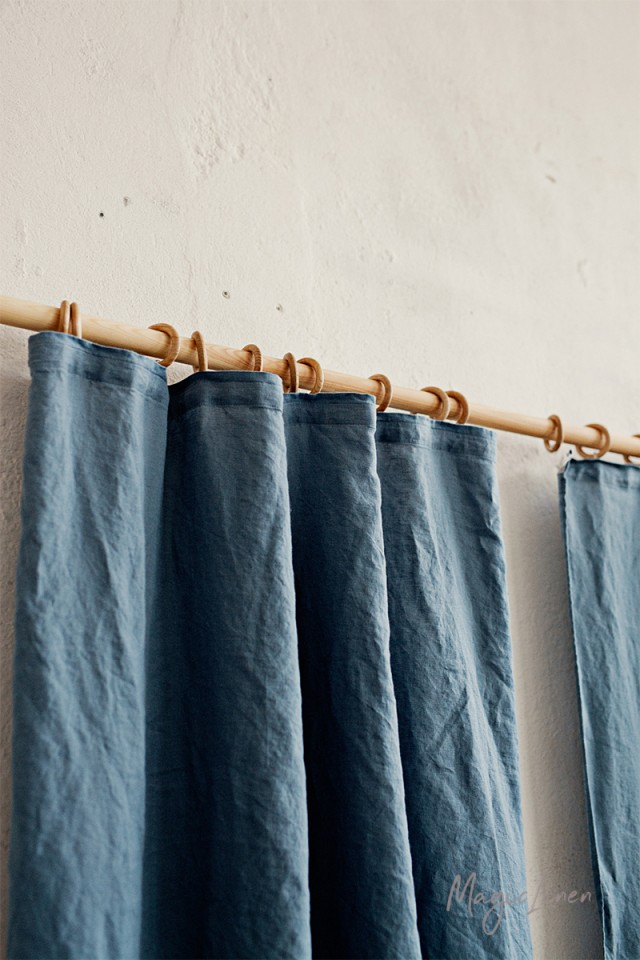 Pencil pleat linen curtain panel