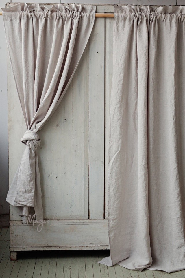 Rod pocket linen curtain panel with header