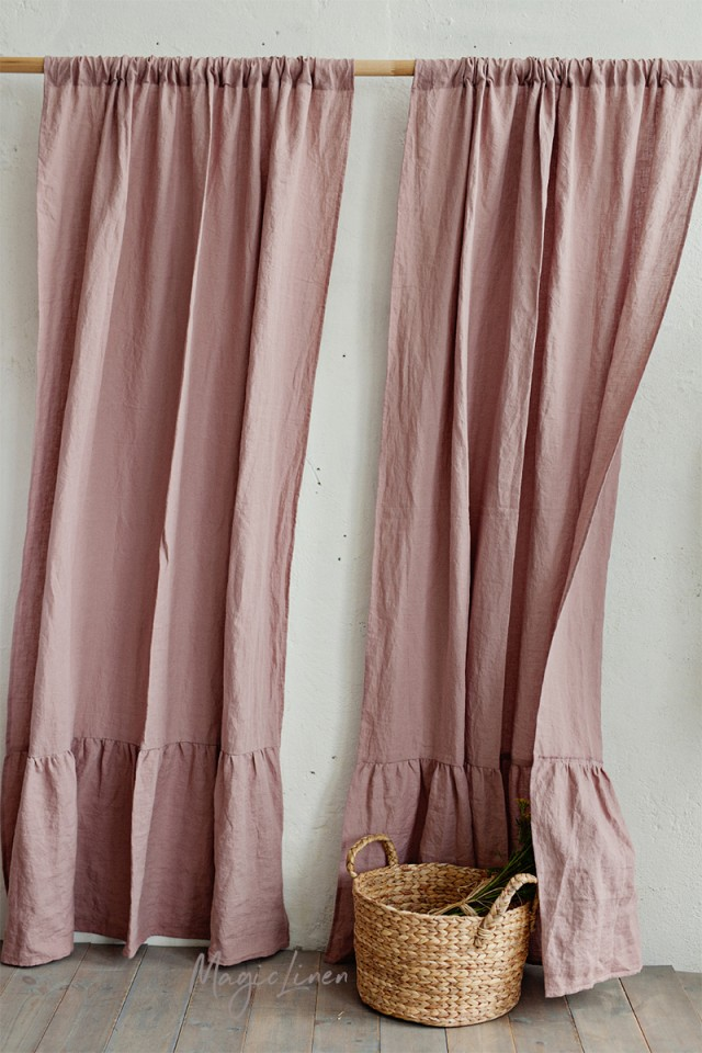 Ruffle trim linen curtain panel