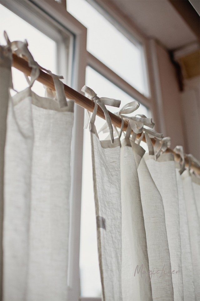 Tie top linen curtain panel