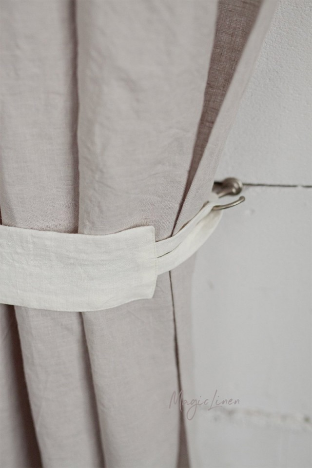 Linen curtain tie-back