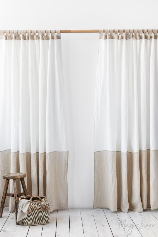 Color-block linen curtain panel