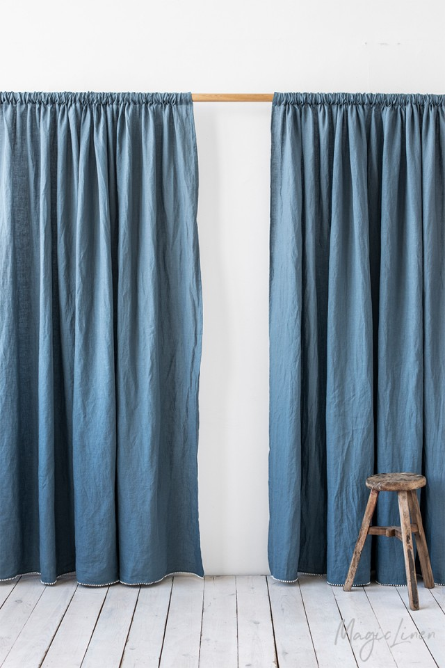 Pom pom trim linen curtain panel