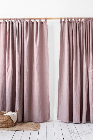 Tab top linen curtain panel
