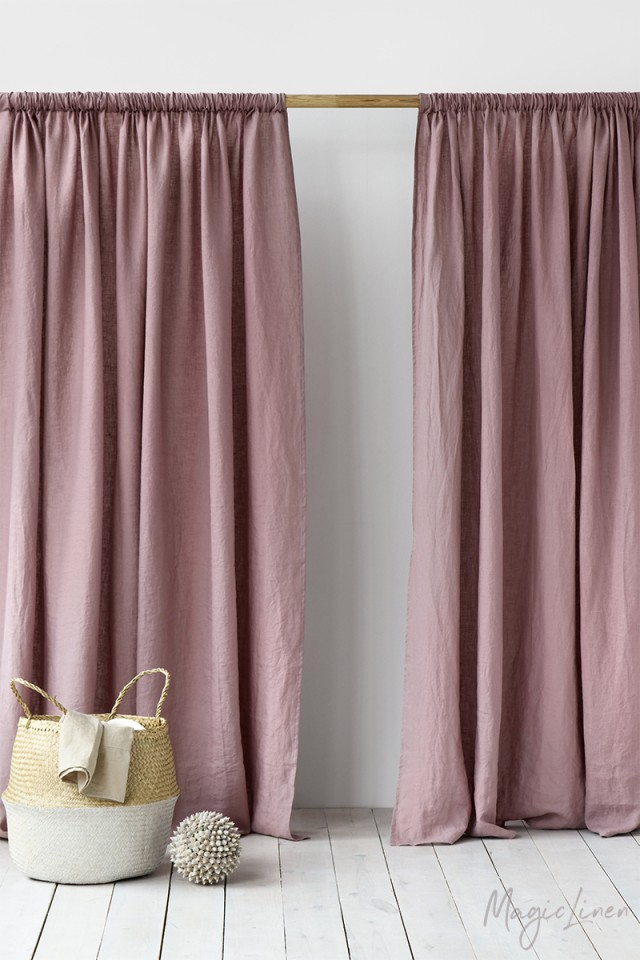 Rod pocket linen curtain panel