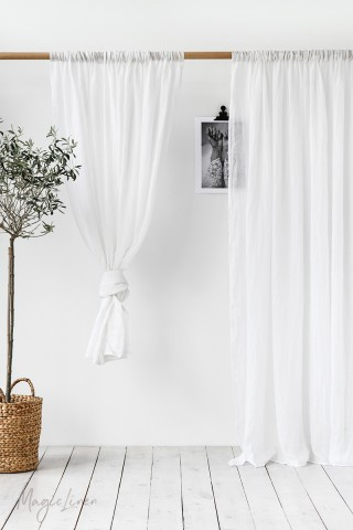 Sheer rod pocket linen curtain panel